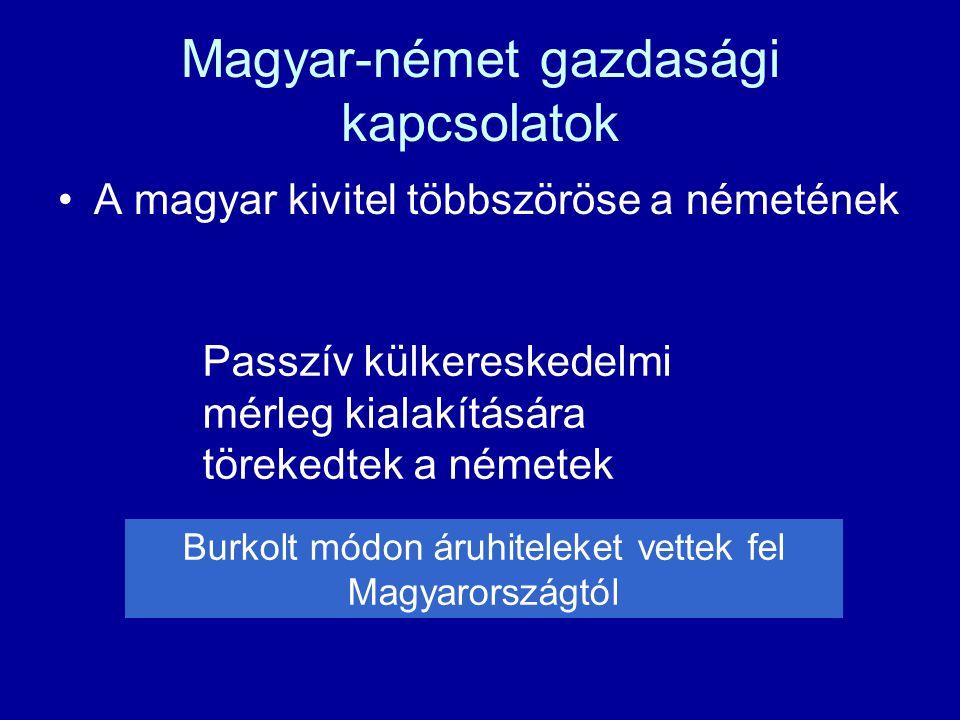 Magyar-német gazdasági kapcsolatok A magyar kivitel többszöröse a németének Passzív külkereskedelmi mérleg kialakítására törekedtek a németek Burkolt