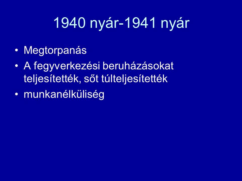 1940 nyár-1941 nyár Megtorpanás A fegyverkezési beruházásokat teljesítették, sőt túlteljesítették munkanélküliség
