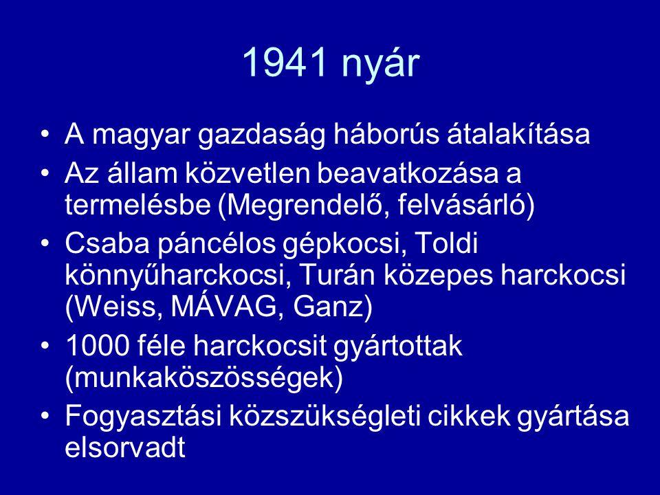 1941 nyár A magyar gazdaság háborús átalakítása Az állam közvetlen beavatkozása a termelésbe (Megrendelő, felvásárló) Csaba páncélos gépkocsi, Toldi k
