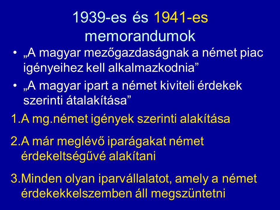 """1939-es és 1941-es memorandumok """"A magyar mezőgazdaságnak a német piac igényeihez kell alkalmazkodnia"""" """"A magyar ipart a német kiviteli érdekek szerin"""