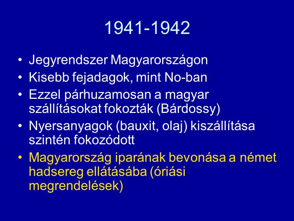 1941-1942 Jegyrendszer Magyarországon Kisebb fejadagok, mint No-ban Ezzel párhuzamosan a magyar szállításokat fokozták (Bárdossy) Nyersanyagok (bauxit
