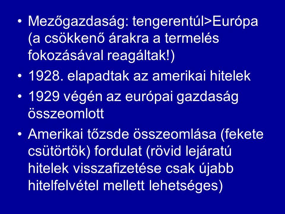 Mezőgazdaság: tengerentúl>Európa (a csökkenő árakra a termelés fokozásával reagáltak!) 1928. elapadtak az amerikai hitelek 1929 végén az európai gazda