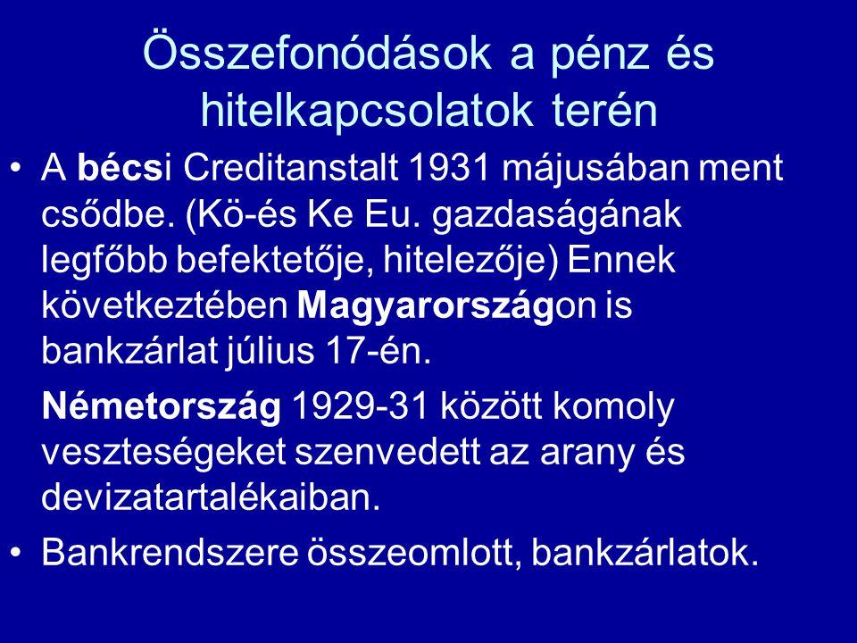 Összefonódások a pénz és hitelkapcsolatok terén A bécsi Creditanstalt 1931 májusában ment csődbe. (Kö-és Ke Eu. gazdaságának legfőbb befektetője, hite