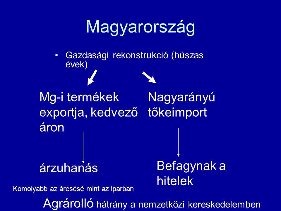 Magyarország Gazdasági rekonstrukció (húszas évek) Mg-i termékek exportja, kedvező áron Nagyarányú tőkeimport árzuhanás Befagynak a hitelek Komolyabb