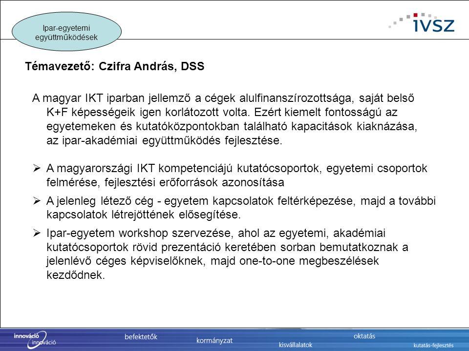 A magyar IKT iparban jellemző a cégek alulfinanszírozottsága, saját belső K+F képességeik igen korlátozott volta. Ezért kiemelt fontosságú az egyeteme