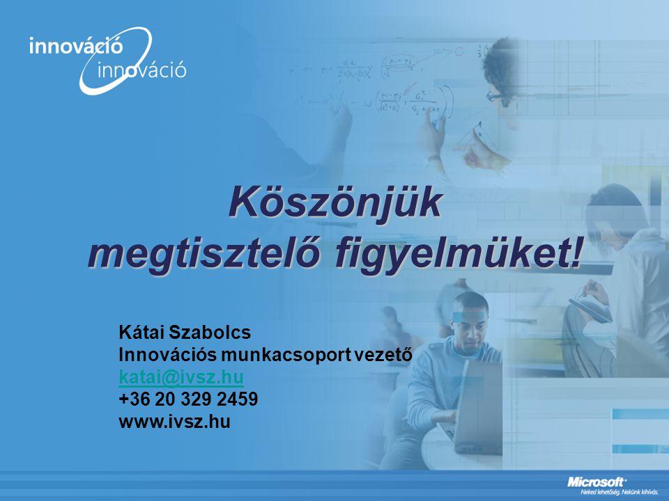 Köszönjük megtisztelő figyelmüket! Kátai Szabolcs Innovációs munkacsoport vezető katai@ivsz.hu +36 20 329 2459 www.ivsz.hu