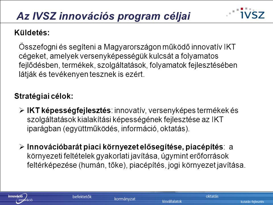 Az IVSZ innovációs program céljai Összefogni és segíteni a Magyarországon működő innovatív IKT cégeket, amelyek versenyképességük kulcsát a folyamatos