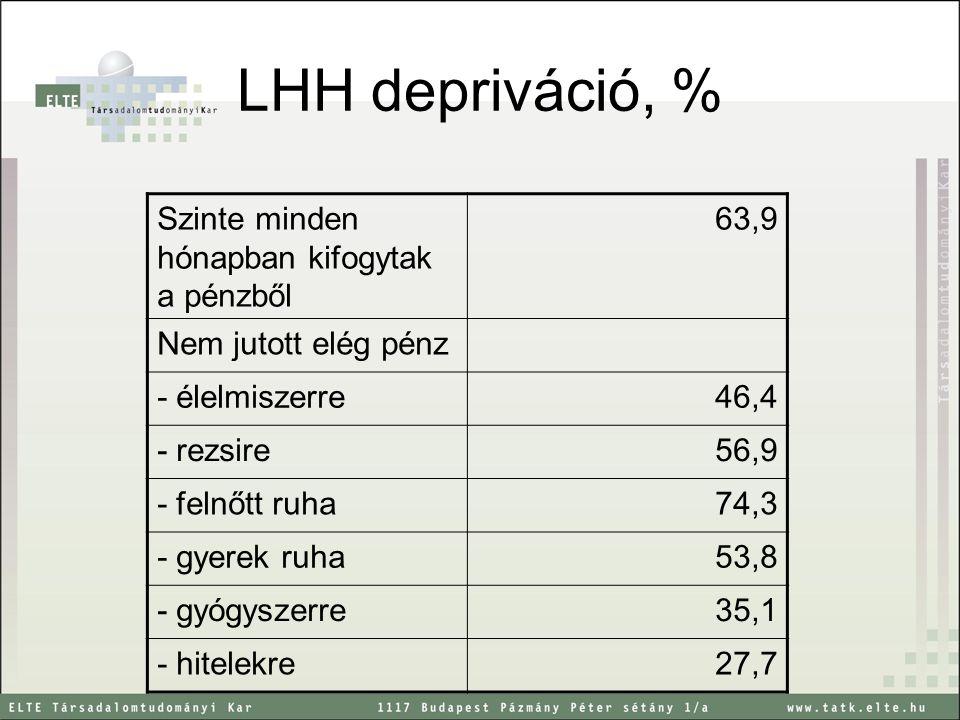 LHH depriváció, % Szinte minden hónapban kifogytak a pénzből 63,9 Nem jutott elég pénz - élelmiszerre46,4 - rezsire56,9 - felnőtt ruha74,3 - gyerek ru