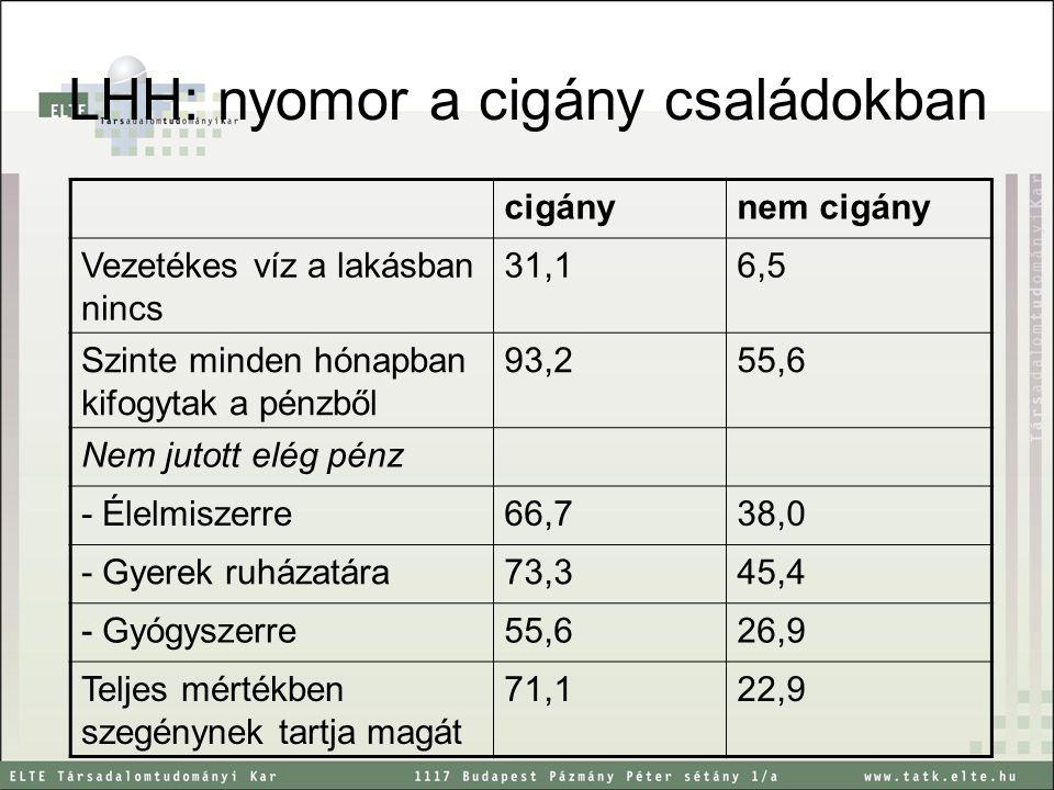 LHH: nyomor a cigány családokban cigánynem cigány Vezetékes víz a lakásban nincs 31,16,5 Szinte minden hónapban kifogytak a pénzből 93,255,6 Nem jutot