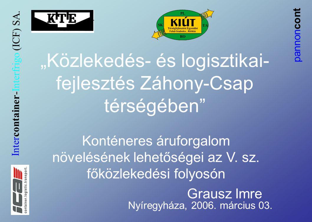 """""""Közlekedés- és logisztikai- fejlesztés Záhony-Csap térségében Konténeres áruforgalom növelésének lehetőségei az V."""