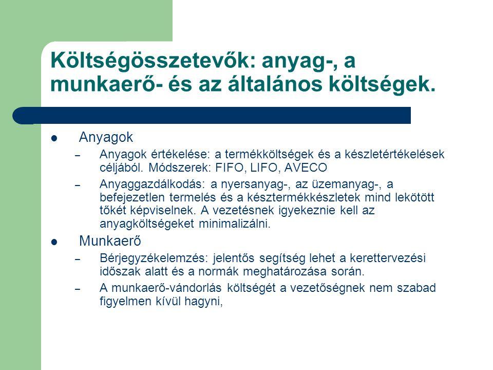 Költségösszetevők: anyag-, a munkaerő- és az általános költségek. Anyagok – Anyagok értékelése: a termékköltségek és a készletértékelések céljából. Mó