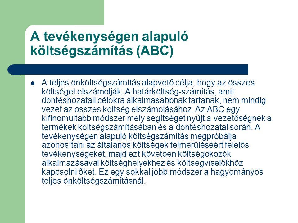 A tevékenységen alapuló költségszámítás (ABC) A teljes önköltségszámítás alapvető célja, hogy az összes költséget elszámolják. A határköltség-számítás