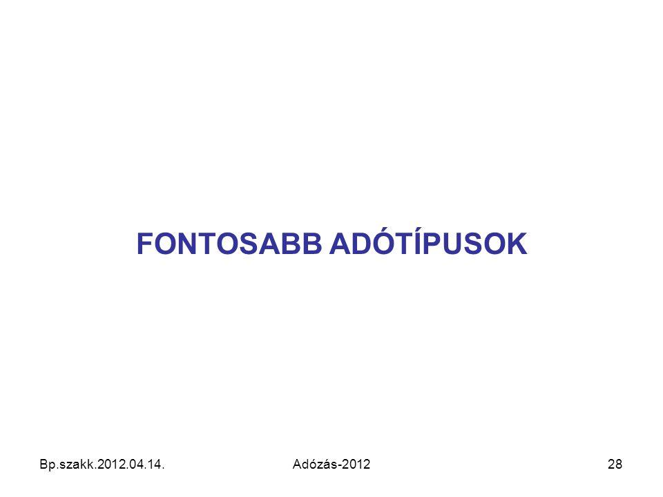 Bp.szakk.2012.04.14.Adózás-201228 FONTOSABB ADÓTÍPUSOK