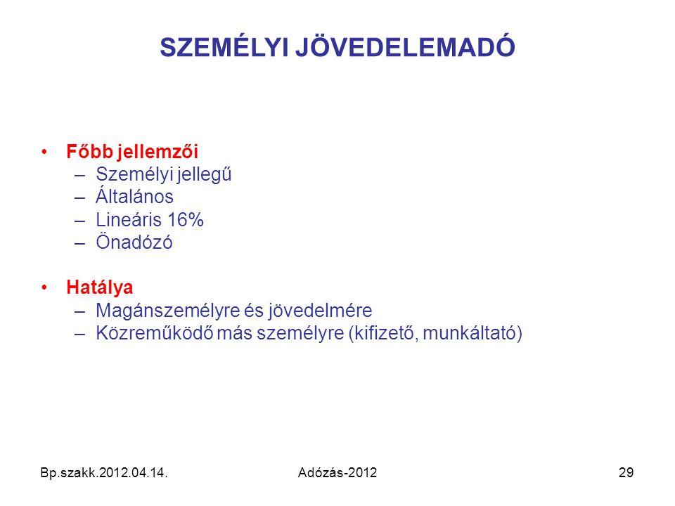 Bp.szakk.2012.04.14.Adózás-201229 SZEMÉLYI JÖVEDELEMADÓ Főbb jellemzői –Személyi jellegű –Általános –Lineáris 16% –Önadózó Hatálya –Magánszemélyre és