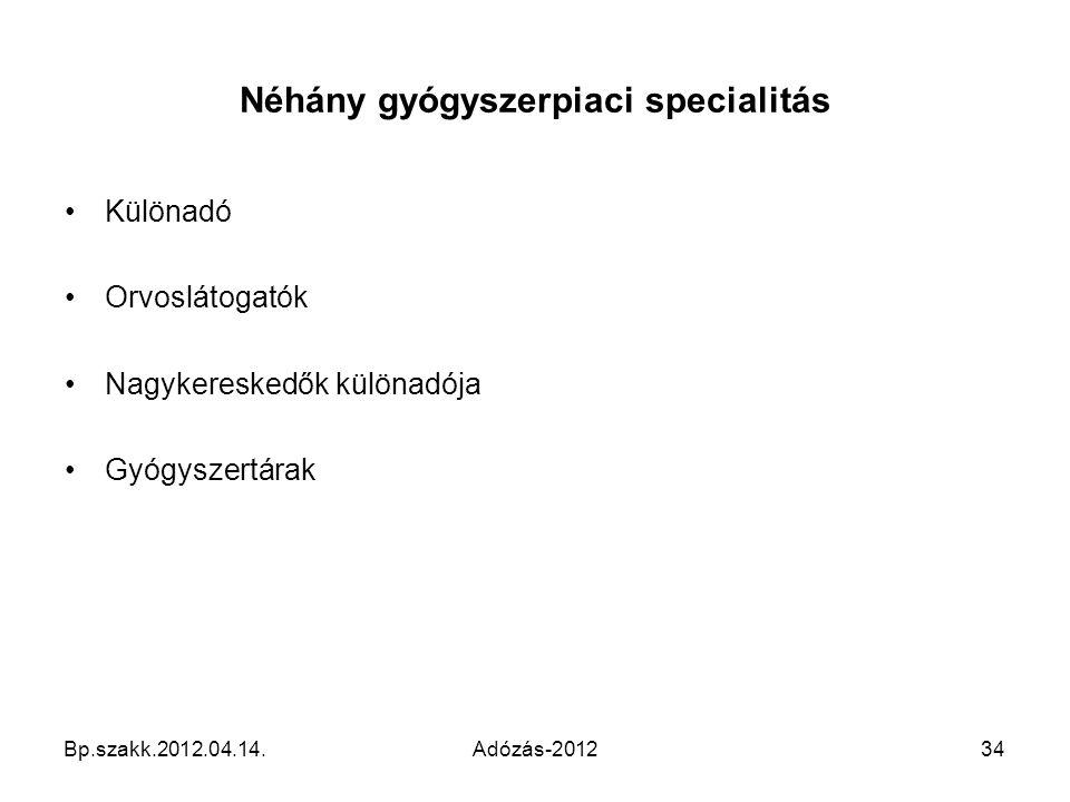 Néhány gyógyszerpiaci specialitás Különadó Orvoslátogatók Nagykereskedők különadója Gyógyszertárak Bp.szakk.2012.04.14.Adózás-201234