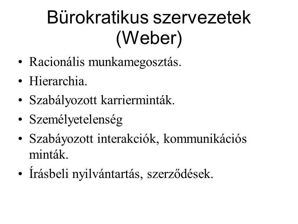 Bürokratikus szervezetek (Weber) Racionális munkamegosztás.