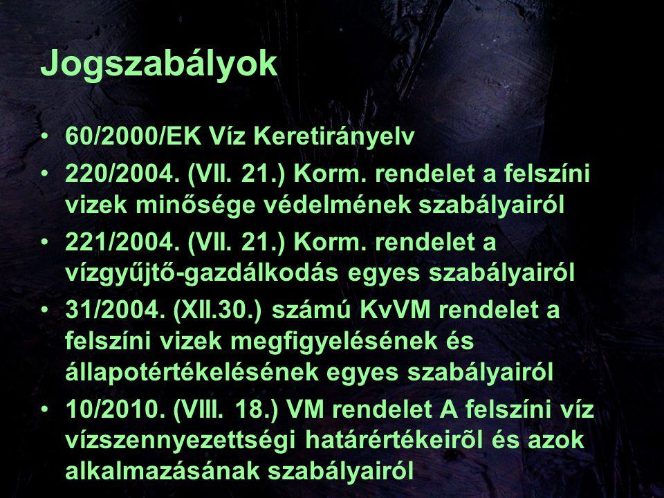 Jogszabályok 60/2000/EK Víz Keretirányelv 220/2004.