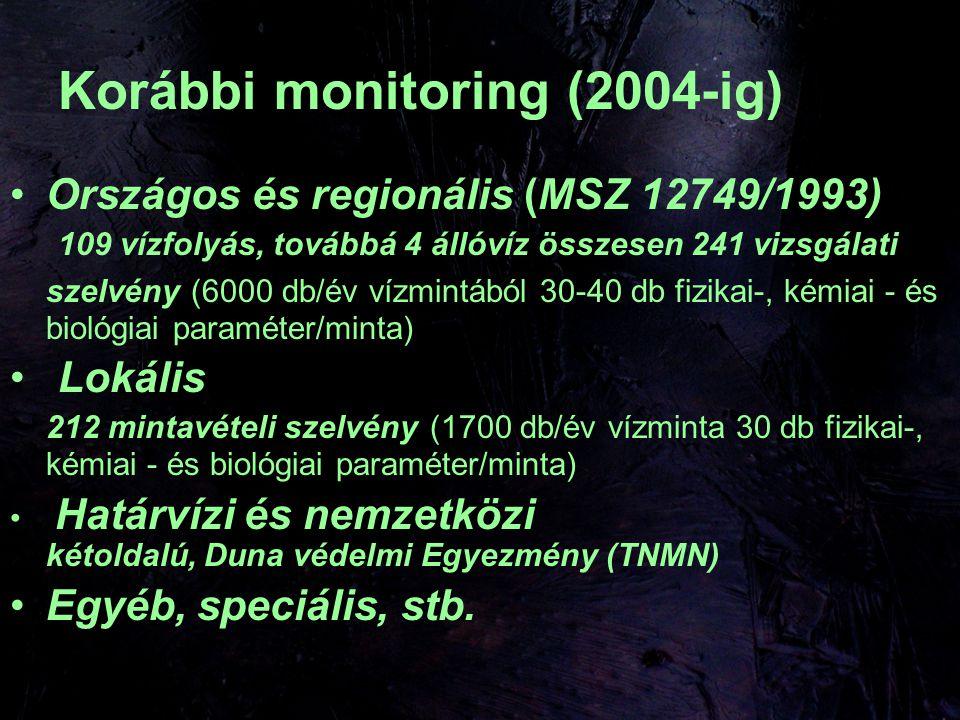 Korábbi monitoring (2004-ig) Országos és regionális (MSZ 12749/1993) 109 vízfolyás, továbbá 4 állóvíz összesen 241 vizsgálati szelvény (6000 db/év vízmintából 30-40 db fizikai-, kémiai - és biológiai paraméter/minta) Lokális 212 mintavételi szelvény (1700 db/év vízminta 30 db fizikai-, kémiai - és biológiai paraméter/minta) Határvízi és nemzetközi kétoldalú, Duna védelmi Egyezmény (TNMN) Egyéb, speciális, stb.