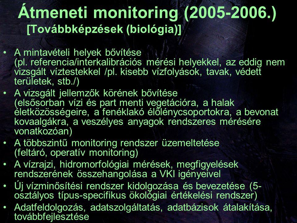 2007-től VKI monitoring többszintű monitoring rendszer (felügyeleti, operatív, vizsgálati) kockázatértékelési eljárás kiegészítése, validálása előtérbe: biológiai paraméterek, veszélyes anyagok víztestek referencia körülményeinek (ha léteznek) meghatározása interkalibrációs gyakorlat kialakítása védett területekre vonatkozó célkitűzések okok feltárása MEGVALÓSÍTÁS PÉNZ, PÉNZ, PÉNZ!!!