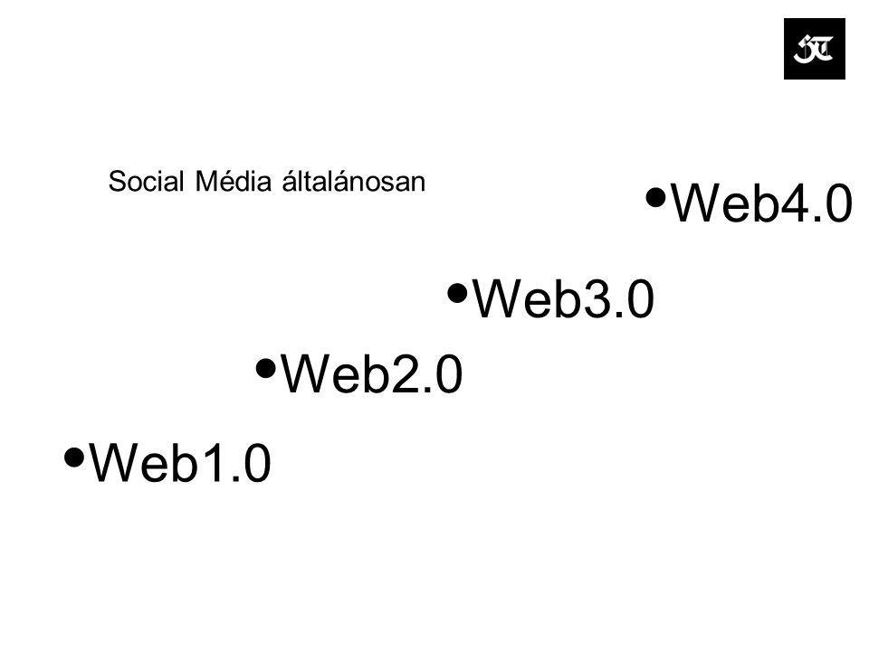 Social Média általánosan Web1.0 Web2.0 Web3.0 Web4.0