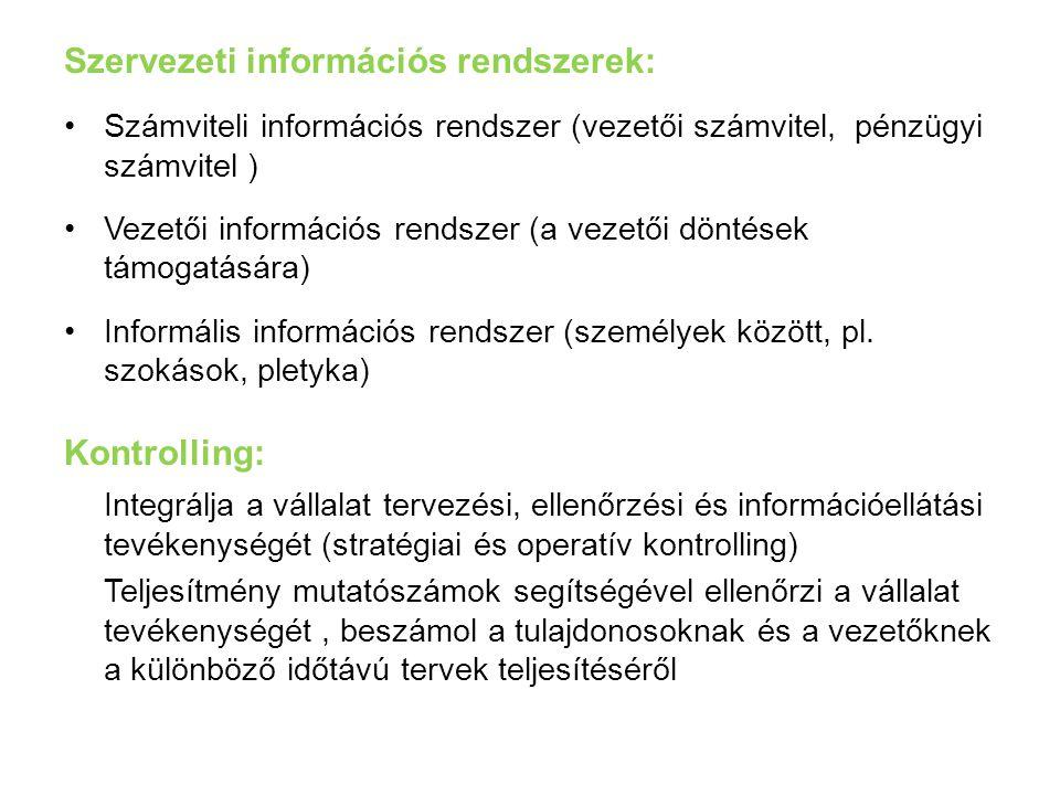 Szervezeti információs rendszerek: Számviteli információs rendszer (vezetői számvitel, pénzügyi számvitel ) Vezetői információs rendszer (a vezetői dö