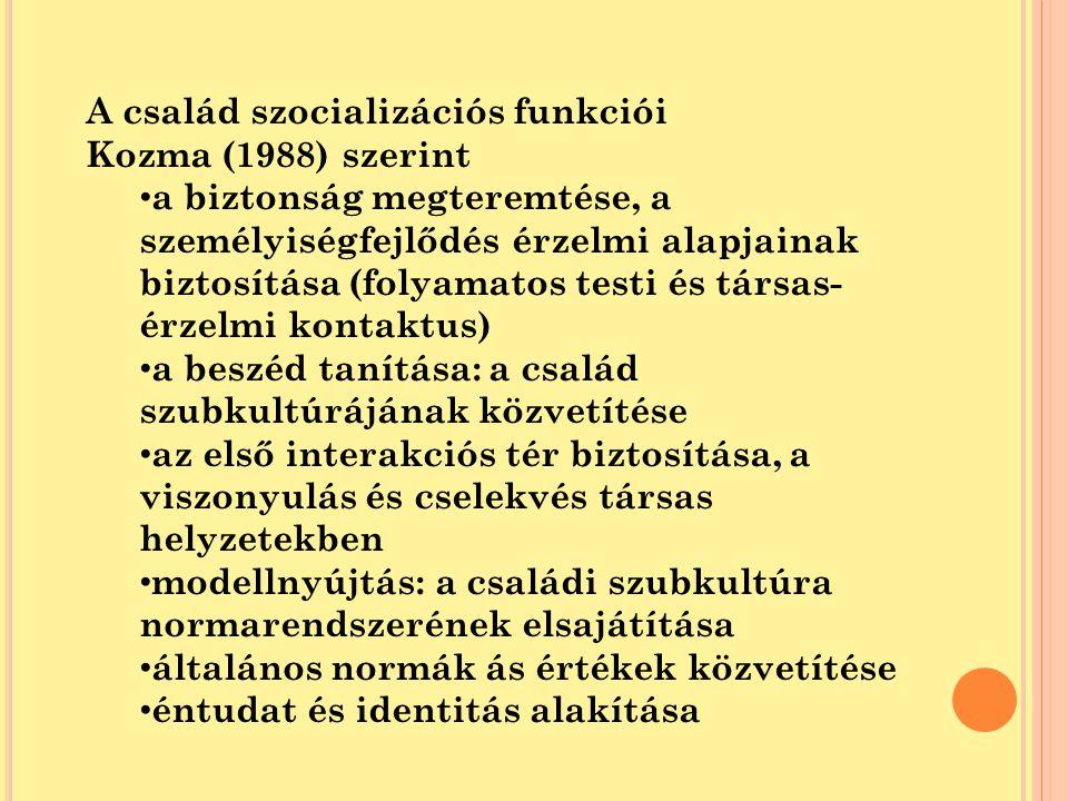 A család szocializációs funkciói Kozma (1988) szerint a biztonság megteremtése, a személyiségfejlődés érzelmi alapjainak biztosítása (folyamatos testi