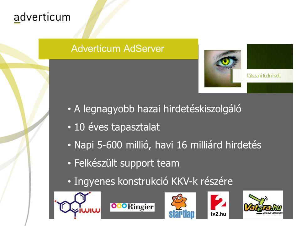 Adverticum AdServer A legnagyobb hazai hirdetéskiszolgáló 10 éves tapasztalat Napi 5-600 millió, havi 16 milliárd hirdetés Felkészült support team Ingyenes konstrukció KKV-k részére