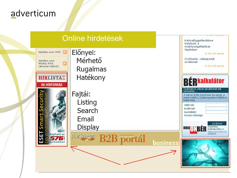 Online hirdetések Előnyei: Mérhető Rugalmas Hatékony Fajtái: Listing Search Email Display