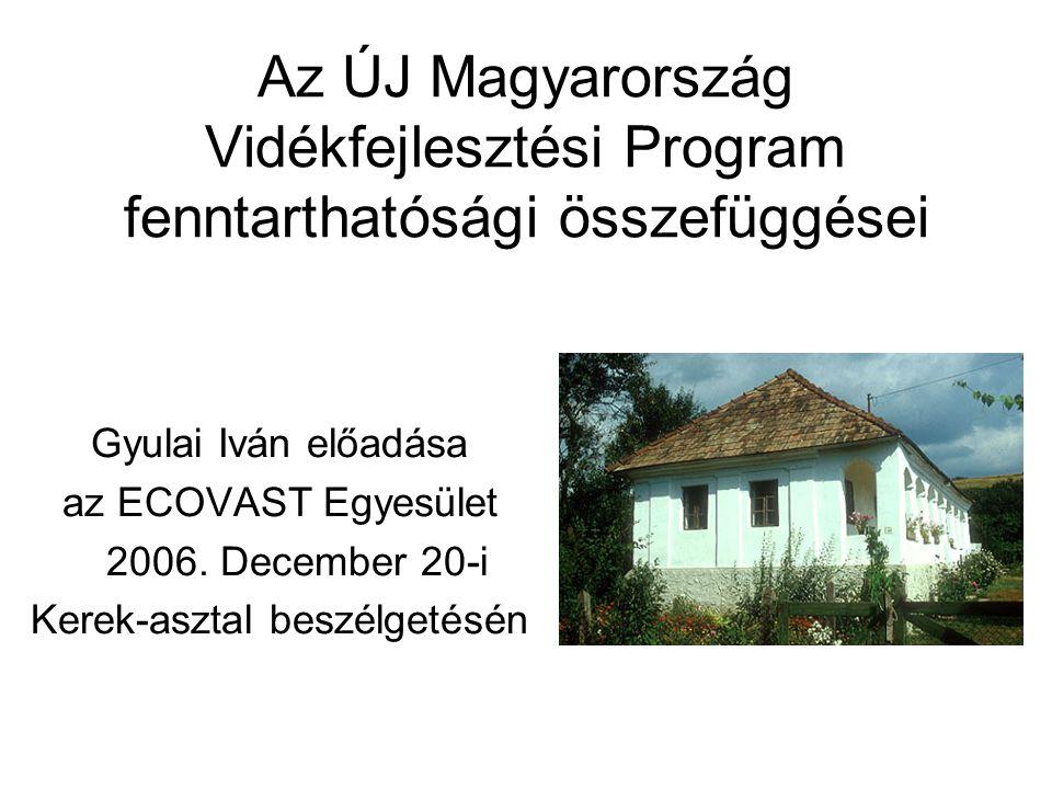 Az ÚJ Magyarország Vidékfejlesztési Program fenntarthatósági összefüggései Gyulai Iván előadása az ECOVAST Egyesület 2006.