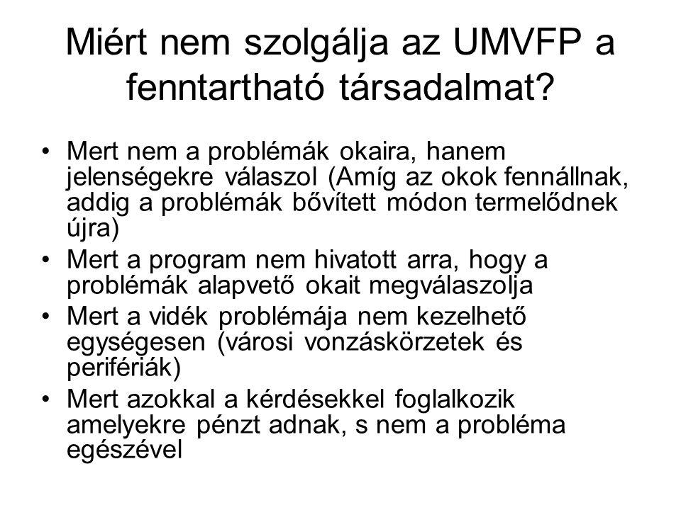 Miért nem szolgálja az UMVFP a fenntartható társadalmat.