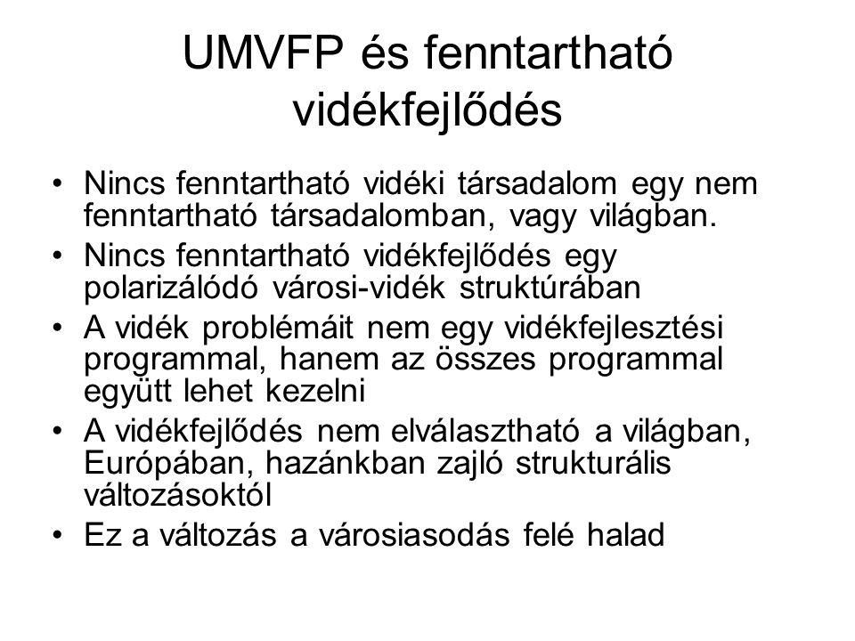 UMVFP és fenntartható vidékfejlődés Nincs fenntartható vidéki társadalom egy nem fenntartható társadalomban, vagy világban.
