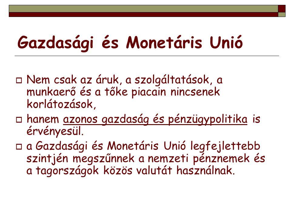 Gazdasági és Monetáris Unió  Nem csak az áruk, a szolgáltatások, a munkaerő és a tőke piacain nincsenek korlátozások,  hanem azonos gazdaság és pénz
