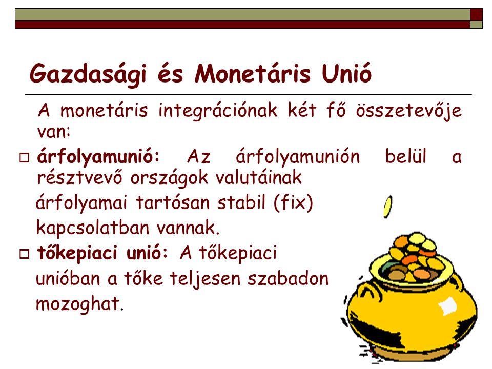 Gazdasági és Monetáris Unió A monetáris integrációnak két fő összetevője van:  árfolyamunió: Az árfolyamunión belül a résztvevő országok valutáinak á