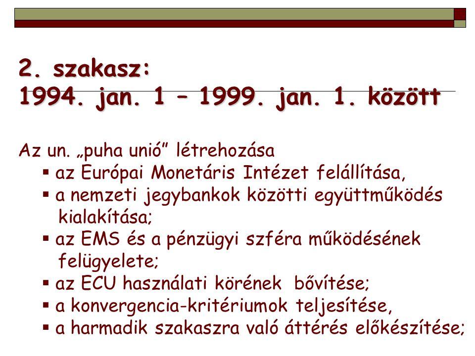 """2. szakasz: 1994. jan. 1 – 1999. jan. 1. között Az un. """"puha unió"""" létrehozása  az Európai Monetáris Intézet felállítása,  a nemzeti jegybankok közö"""