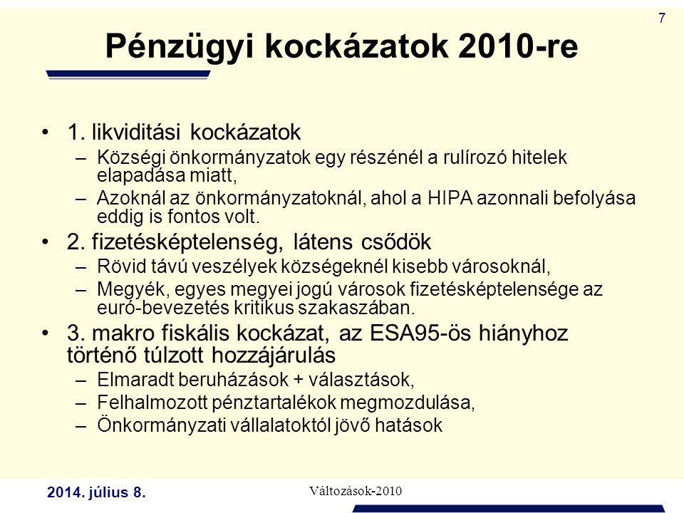 2014. július 8. Változások-2010 7 Pénzügyi kockázatok 2010-re 1.