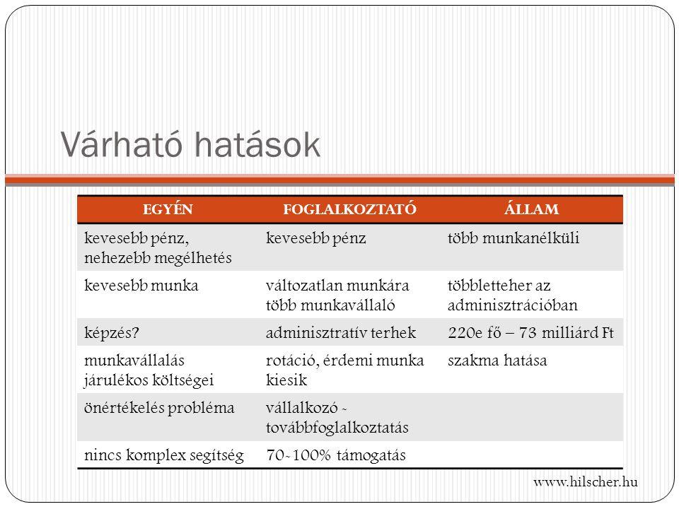 Várható hatások www.hilscher.hu EGYÉNFOGLALKOZTATÓÁLLAM kevesebb pénz, nehezebb megélhetés kevesebb pénztöbb munkanélküli kevesebb munkaváltozatlan munkára több munkavállaló többletteher az adminisztrációban képzés adminisztratív terhek 220e f ő – 73 milliárd Ft munkavállalás járulékos költségei rotáció, érdemi munka kiesik szakma hatása önértékelés problémavállalkozó - továbbfoglalkoztatás nincs komplex segítség70-100% támogatás