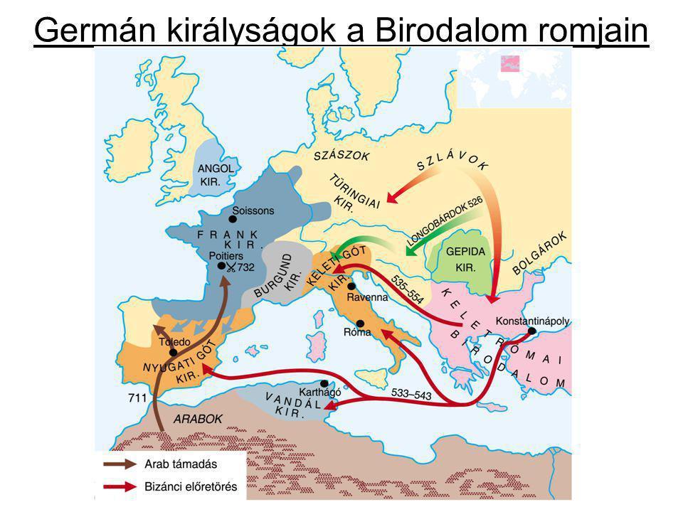 """A birodalom végnapjai – a hunok A birodalmat germán királyságok uralták A császár csak Itália felett uralkodott A Hun Birodalom határa a Dunáig terjedt ki Attila """"Isten ostora (434-453) folytatta hódítását Ny."""