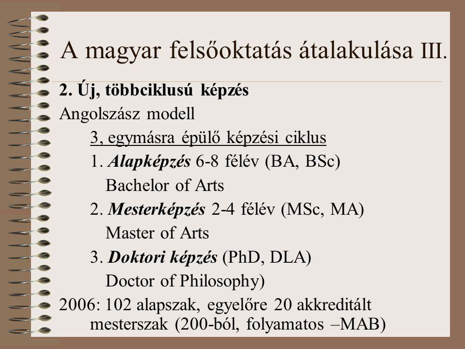 A magyar felsőoktatás átalakulása III. 2.