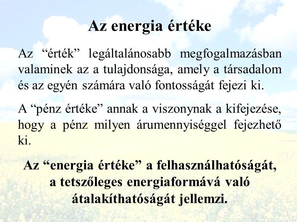 """Az energia értéke Az """"érték"""" legáltalánosabb megfogalmazásban valaminek az a tulajdonsága, amely a társadalom és az egyén számára való fontosságát fej"""