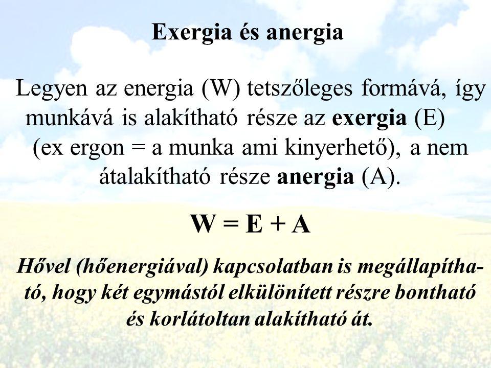 Exergia és anergia Legyen az energia (W) tetszőleges formává, így munkává is alakítható része az exergia (E) (ex ergon = a munka ami kinyerhető), a ne