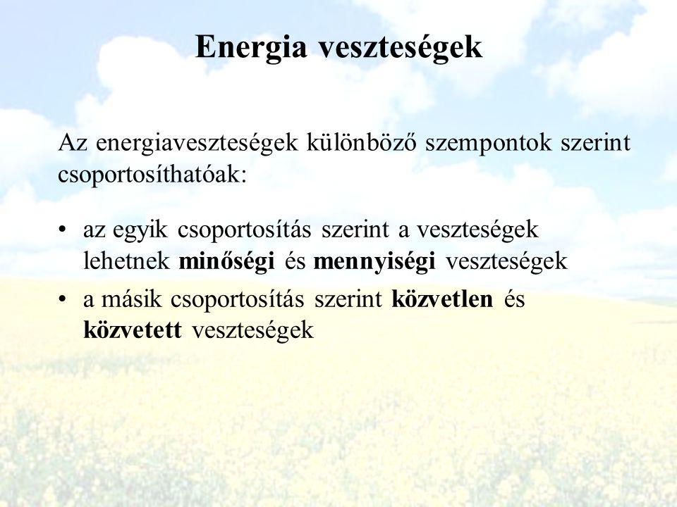 Energia veszteségek az egyik csoportosítás szerint a veszteségek lehetnek minőségi és mennyiségi veszteségek a másik csoportosítás szerint közvetlen é