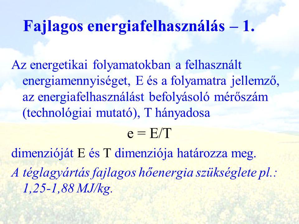 Fajlagos energiafelhasználás – 1. Az energetikai folyamatokban a felhasznált energiamennyiséget, E és a folyamatra jellemző, az energiafelhasználást b
