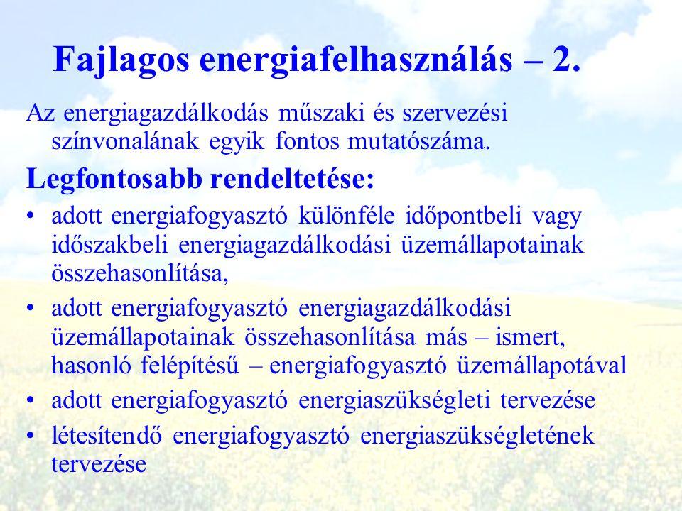 Fajlagos energiafelhasználás – 2. Az energiagazdálkodás műszaki és szervezési színvonalának egyik fontos mutatószáma. Legfontosabb rendeltetése: adott