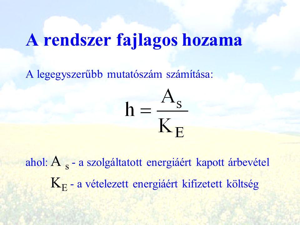 A rendszer fajlagos hozama A legegyszerűbb mutatószám számítása: ahol: A s - a szolgáltatott energiáért kapott árbevétel K E - a vételezett energiáért