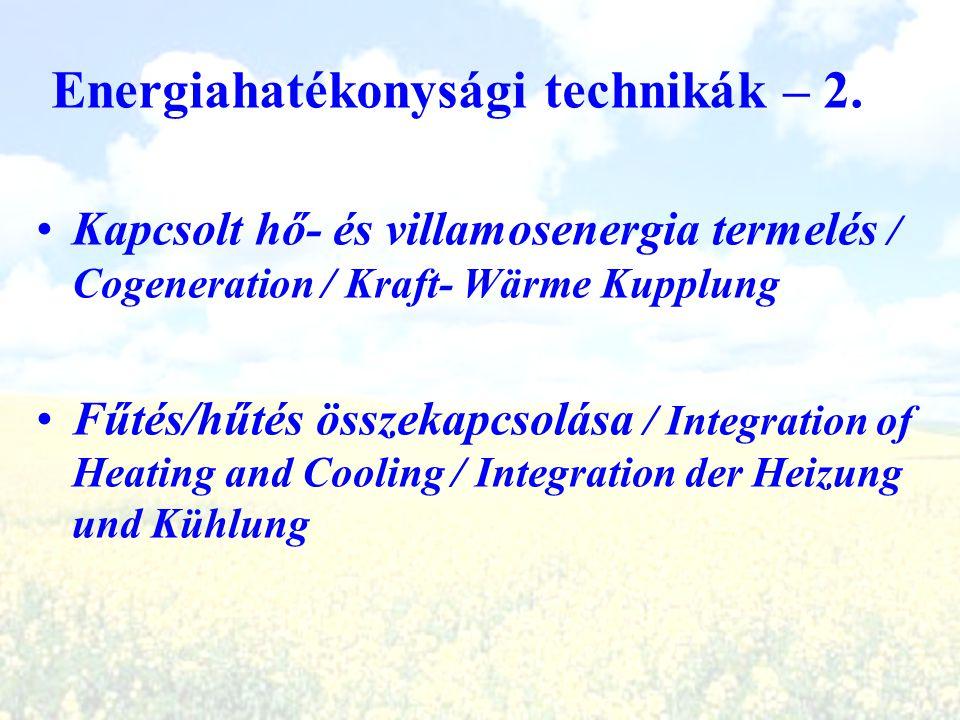 Energiahatékonysági technikák – 2. Kapcsolt hő- és villamosenergia termelés / Cogeneration / Kraft- Wärme Kupplung Fűtés/hűtés összekapcsolása / Integ