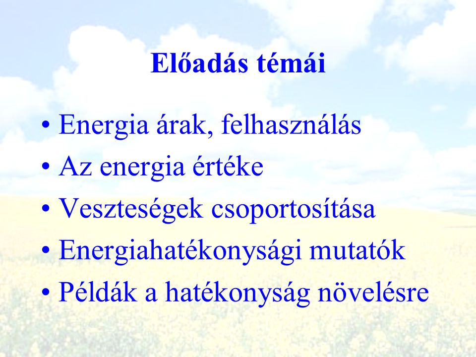 Előadás témái Energia árak, felhasználás Az energia értéke Veszteségek csoportosítása Energiahatékonysági mutatók Példák a hatékonyság növelésre