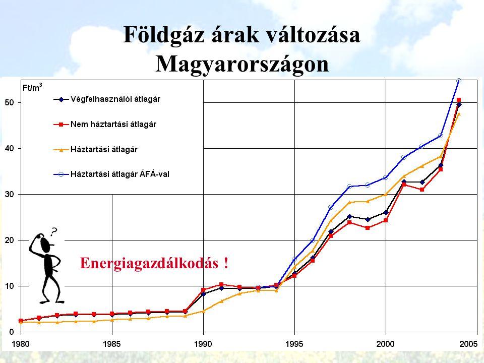 Földgáz árak változása Magyarországon 1980-2004 (HUF) Energiagazdálkodás !