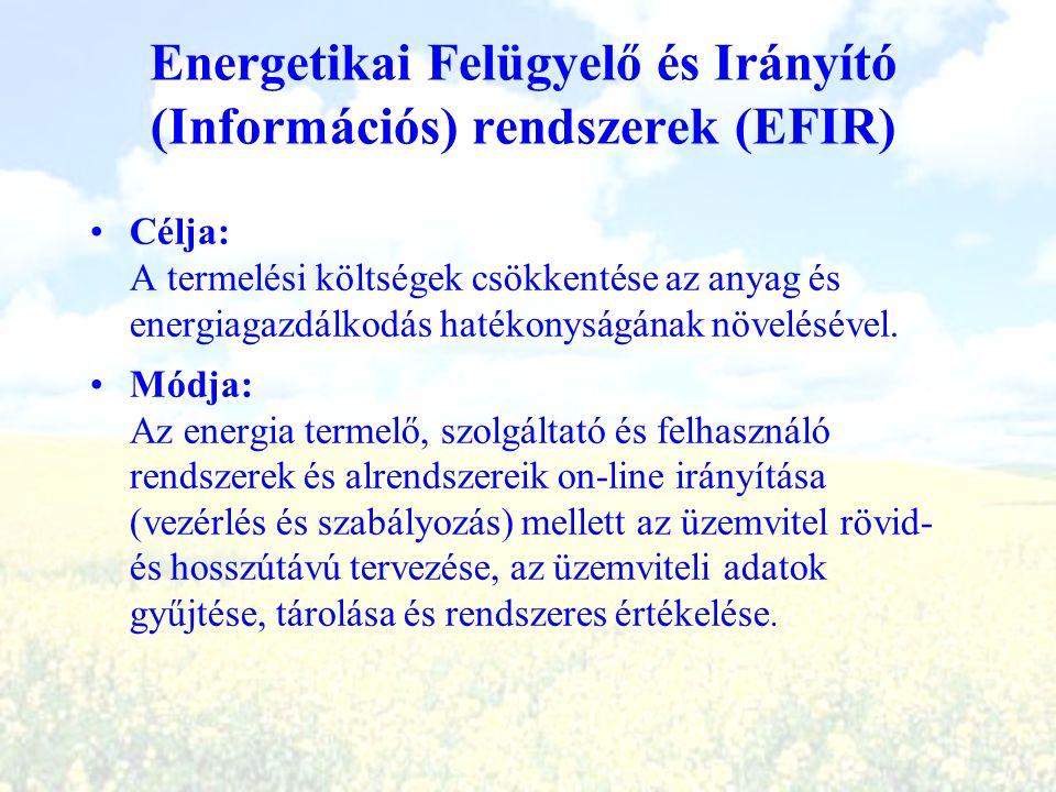 Energetikai Felügyelő és Irányító (Információs) rendszerek (EFIR) Célja: A termelési költségek csökkentése az anyag és energiagazdálkodás hatékonyságá