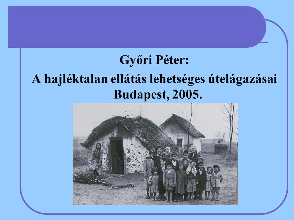 Győri Péter: A hajléktalan ellátás lehetséges útelágazásai Budapest, 2005.