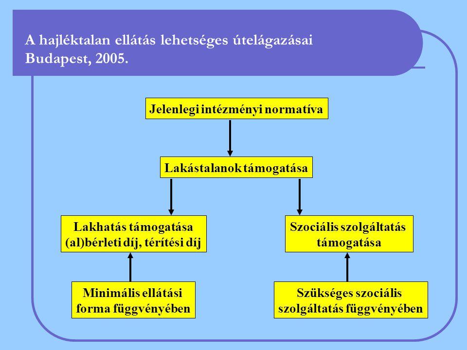 A hajléktalan ellátás lehetséges útelágazásai Budapest, 2005. Jelenlegi intézményi normatíva Lakástalanok támogatása Szociális szolgáltatás támogatása